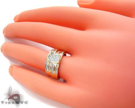 Yellow Gold Round Cut Micro Pave Diamond Ring Set Engagement