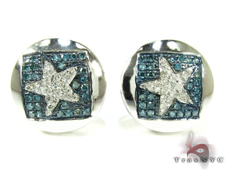 White Gold Round Cut Prong Diamond Star Earrings 25230 Stone