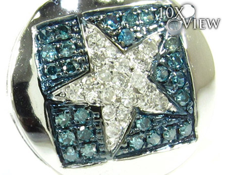 White Gold Round Cut Prong Diamond Star Earrings 25230 Stone
