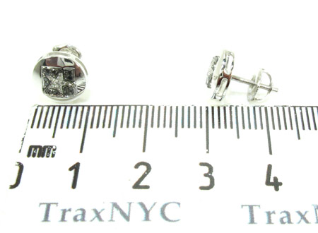 White Gold Round Cut Prong Diamond Star Earrings 25232 Stone
