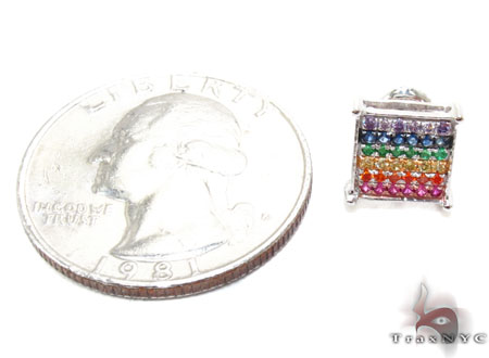 White Gold Round Cut Prong Rainbow Color Gemstone Earrings Stone