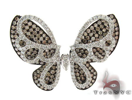 White Gold Round Cut Prong Two Color Diamond Butterfly Pendant Stone