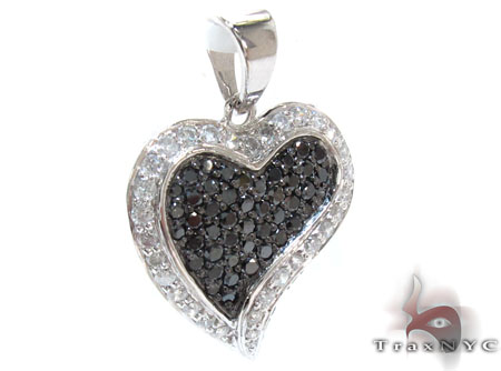 White Gold Round Cut Tension Prong Diamond Heart Pendant Style