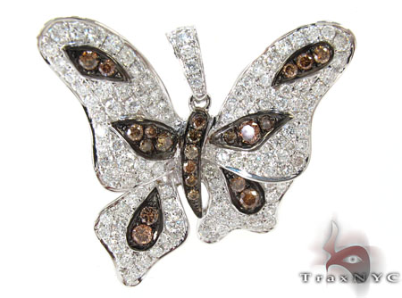 White Gold Round Cut Tension Prong Two Color Diamond Butterfly Pendant Stone