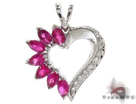 White Gold Round Marquise Cut Prong Diamond Heart Pendant Stone