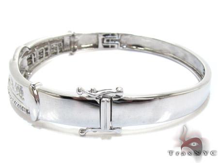White Gold Round Princess Cut Prong Channel Invisible Diamond Bangle Bracelet Bangle