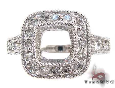 White Gold Round Princess Cut Prong Diamond Semi Mount Ring Engagement