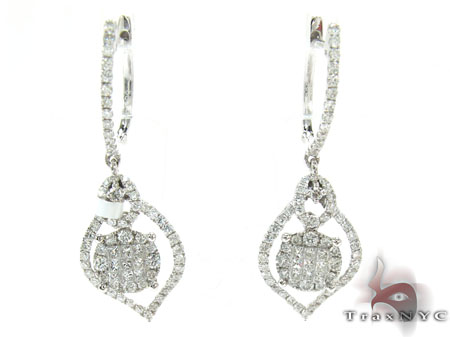 White Gold Round Princess Cut Prong Invisible Diamond Earrings Stone