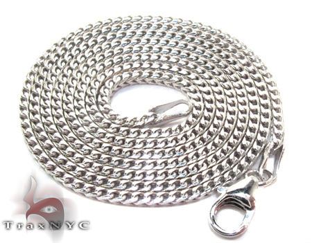 White Gold Thin Chain 22 Inches, 1mm, 6.6 Grams Gold