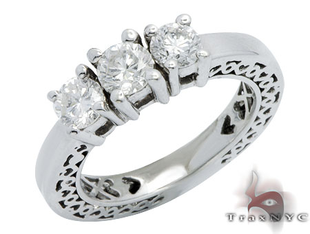 White Gold Three Stone Diamond Wedding Ring Wedding