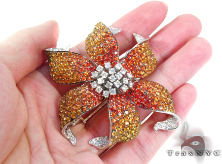 Orange & Yellow Sapphire Diamond Flower Brooch Stone