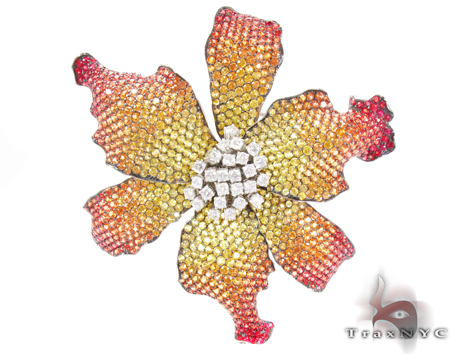Multi Colored Sapphire & Diamond Exotic Flower Brooch Stone
