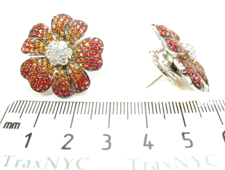 Yellow & Red Sapphire with Diamond Flower Earrings Stone