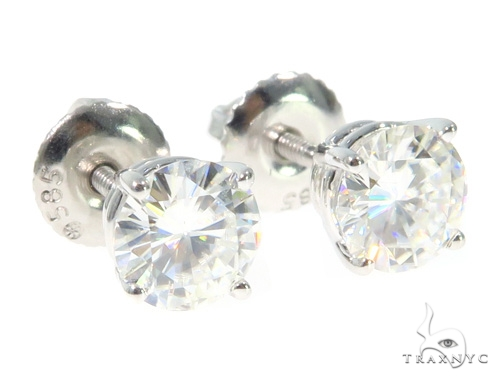 White Moissanite Stud Earrings 43233 Metal