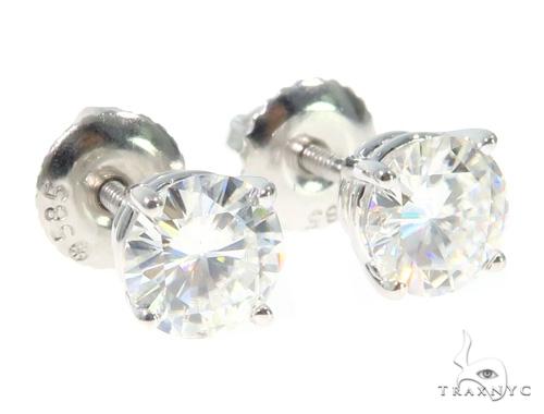 White Moissanite Stud Earrings 43233 Metal