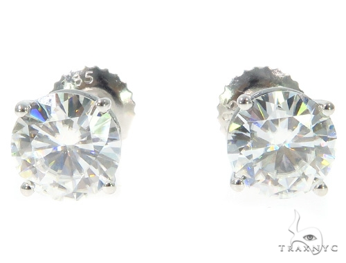White Moissanite Stud Earrings 43234 Metal