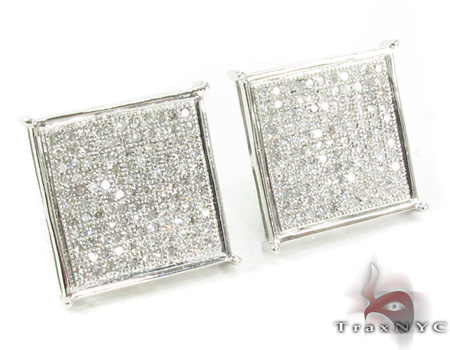 White Pave XL Earrings 2 Stone