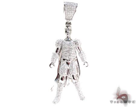 White Rhodium Silver Batman Pendant Metal