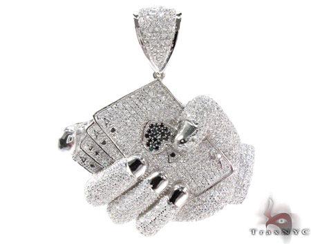 White Rhodium Silver Poker Game Pendant Metal