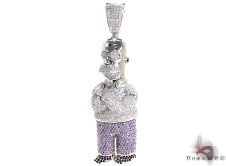 White Rhodium Silver Simpson Homer Pendant Metal