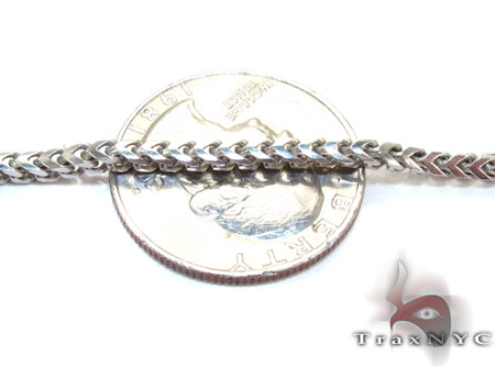 Silver 14K White Gold Plated Franco Chain 36 Inches 2mm 26.7 Grams Silver