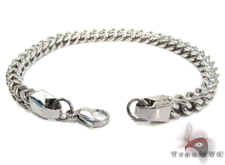 White Stainless Steel Chain Bracelet Silver