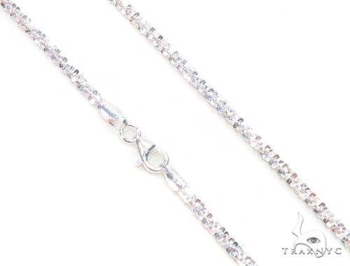 White Silver Glitter Chain 20 Inches, 3mm, 13.55 Grams Silver