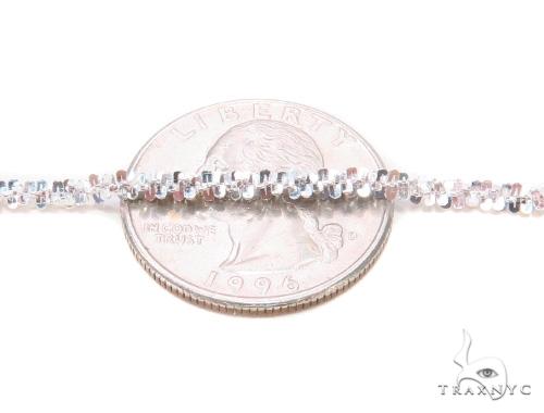 White Silver Glitter Chain 20 Inches, 3mm, 8.9 Grams Silver