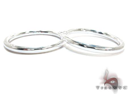 White Silver Hoop Earrings Metal