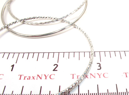 White Silver Twist Bangle Bracelet Silver & Stainless Steel
