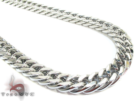 White Stainless Steel Miami Chain 30 Inches, 9mm, 110.8 Grams Stainless Steel Chains