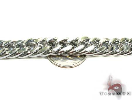 White Stainless Steel Miami Chain 30 Inches, 9mm, 110.8 Grams Stainless Steel