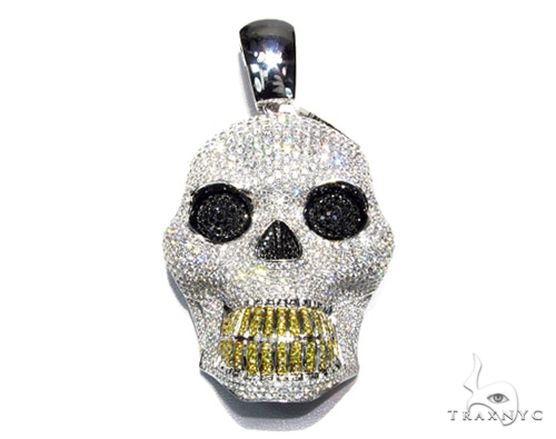 White XL Skull Head ダイヤモンド スカルペンダント