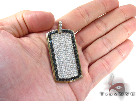 XL Black Outline Pave Diamond Dog Tag Style