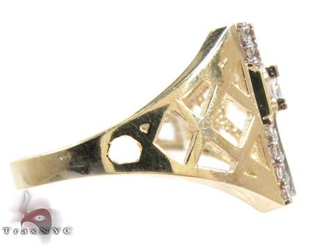 Yellow 10K Gold CZ Cross Ring 25257 Metal