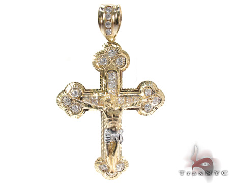 Yellow 10K Gold CZ Jesus Cross Pendant 25307 Gold