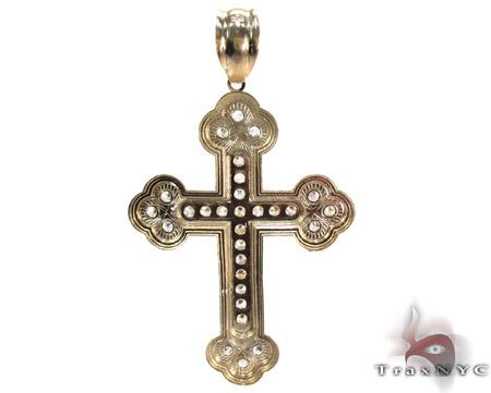 Yellow 10K Gold CZ Jesus Cross Pendant 25307 Gold
