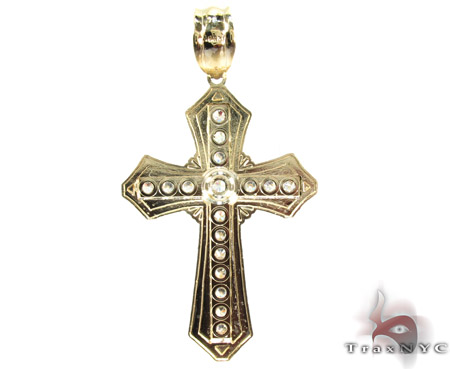 Yellow 10K Gold CZ Jesus Cross Pendant 25310 Gold