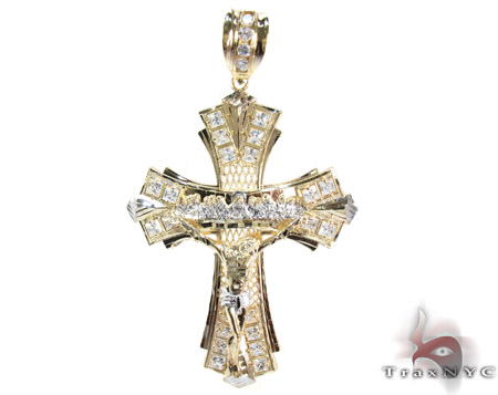 Yellow 10K Gold CZ Jesus Cross Pendant 25311 Gold