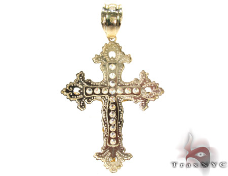 Yellow 10K Gold CZ Jesus Cross Pendant 25314 Gold