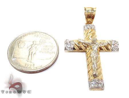 Yellow 10K Gold CZ Jesus Cross Pendant 25318 Gold