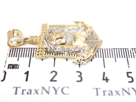 Yellow 10K Gold CZ Jesus Pendant 25323 Metal