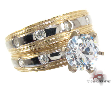 10K Gold His & Her CZ Ring Set 25280 Engagement