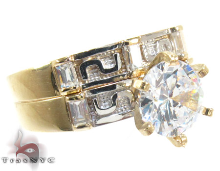 10K Gold His & Her CZ Ring Set 25284 Engagement