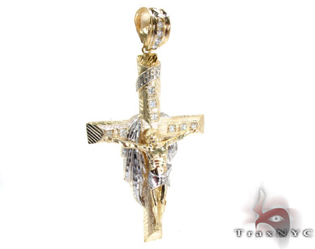 Yellow 10K Gold CZ Jesus Cross Pendant 25306 Gold