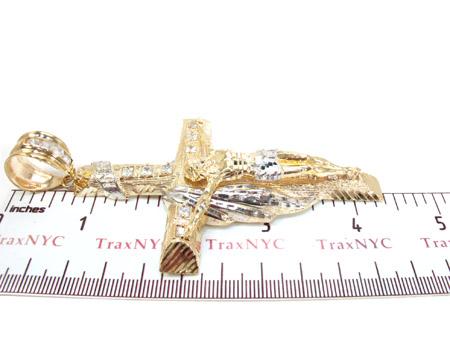 Yellow 10K Gold CZ Jesus Cross Pendant 25306 Gold