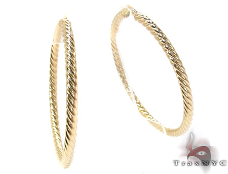 14K Yellow Gold Textured Hoops Metal