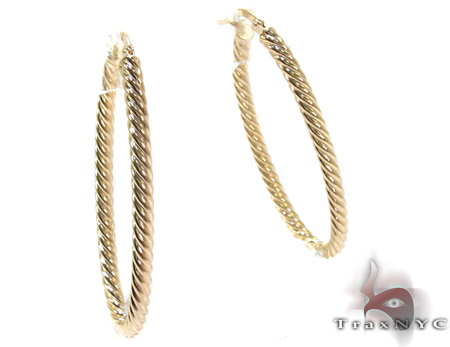 14K Yellow Gold Graded Hoop Earrings Metal