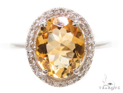 Citrine & Diamond Silver Ring 36826 Anniversary/Fashion