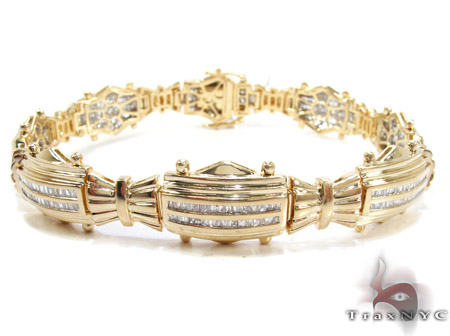 GOLD BRACELET 14K BAGUETTE BRACELET CHANNEL DIAMOND GOLD JUST SET